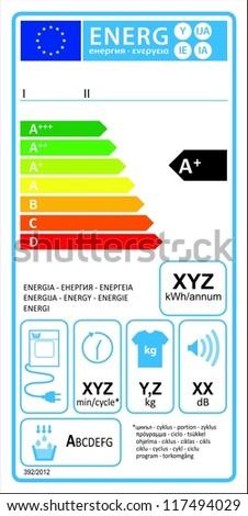 Tumbledryer condensation new energy rating graph label in vector. - stock vector