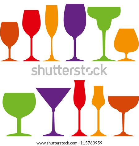 Tumblers set for wine, grappa, martini, cocktails and ice cream. - stock vector