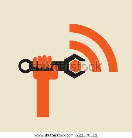 tune the wireless signal - digital transmission repair or maintenance - stock vector