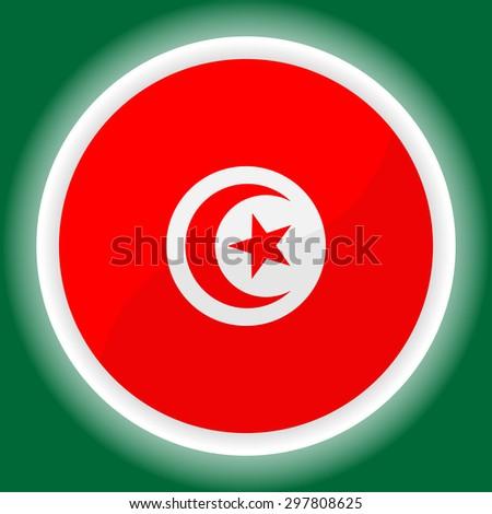 Tunisia flag button on green background - stock vector