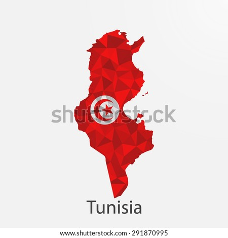 Tunisia flag map in geometric,mosaic polygonal style.Abstract tessellation,background. Vector illustration EPS10 - stock vector