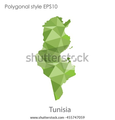 Tunisia map in geometric polygonal,mosaic style.Abstract gems triangle,modern design background. Vector illustration EPS10