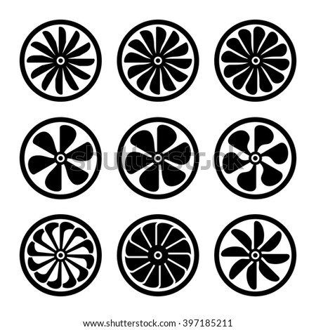 Turbines Icons Set. Turbojet Engine Power. Vector - stock vector