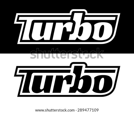 Turbo Badge Stencil - stock vector