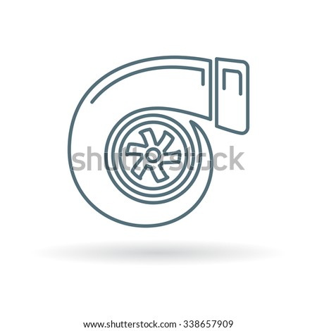Turbo icon. Turbocharger sign. Vehicle performance forced aspiration symbol. Thin line icon on white background. Vector illustration. - stock vector