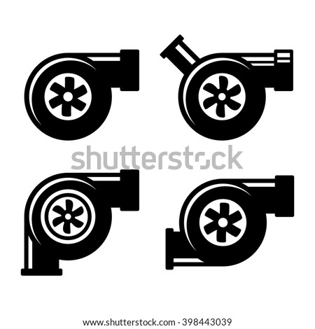 Turbocharger Icons Set Isolated on a White Background. Vector - stock vector