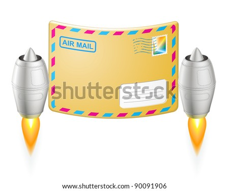Turbojet air mail envelope - EPS 8 vector icon - stock vector