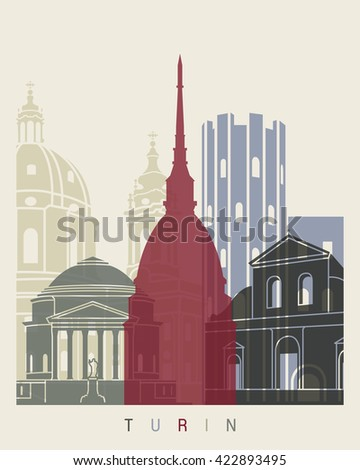 Turin skyline poster in editable vector file - stock vector