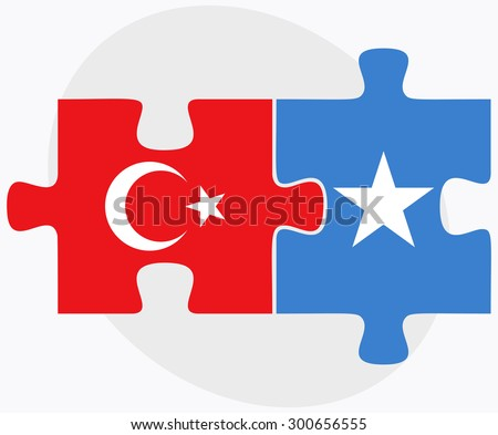 Turkey and Somalia Flags in puzzle isolated on white background