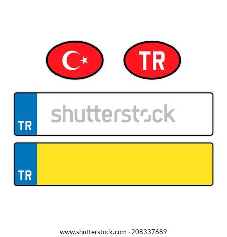 TURKEY, Car License Plates - stock vector