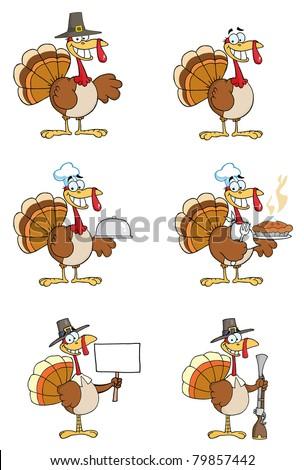 Turkey Cartoon Characters-Vector Collection - stock vector