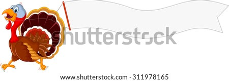 turkey cartoon running with blank sign - stock vector