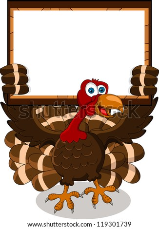 turkey cartoon with blank board - stock vector