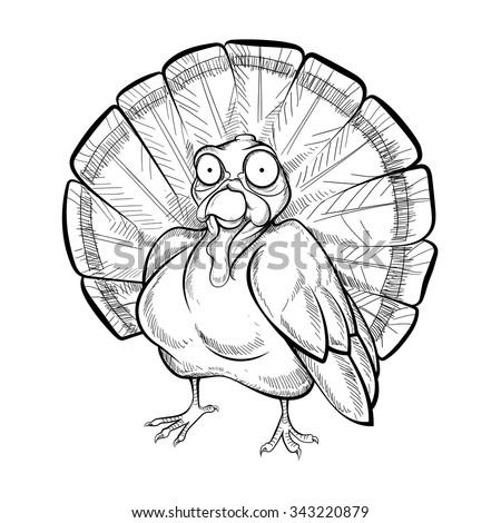 turkey - chalk, coloring book - stock vector