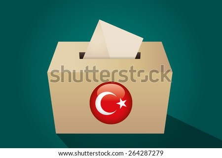 Turkey election ballot box for collecting votes, green background - stock vector