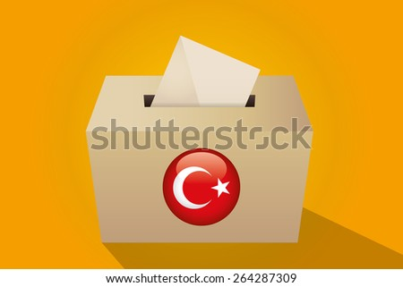 Turkey election ballot box for collecting votes, yellow background - stock vector