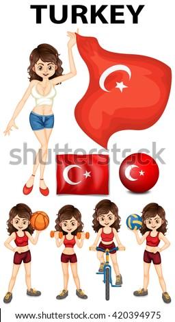 Turkey flag and woman athlete illustration - stock vector