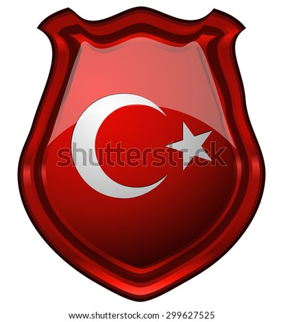 Turkey Flag on a Glossy Red Shield, Vector Illustration isolated on White Background.