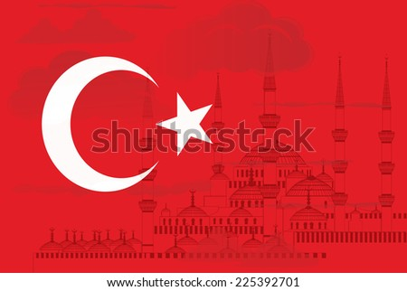 Turkey flag with silhouette of  Blue mosque in Istanbul. Vector illustration. - stock vector