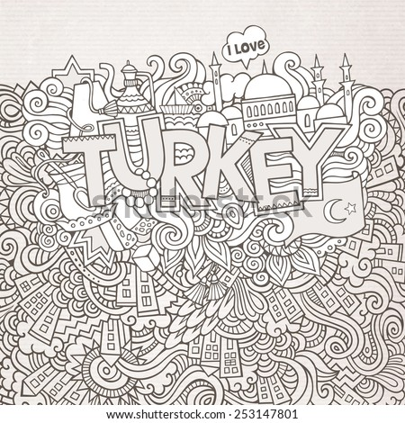 Turkey hand lettering and doodles elements background. Vector illustration - stock vector