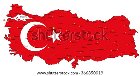 Turkey highly detailed political map with national flag. - stock vector