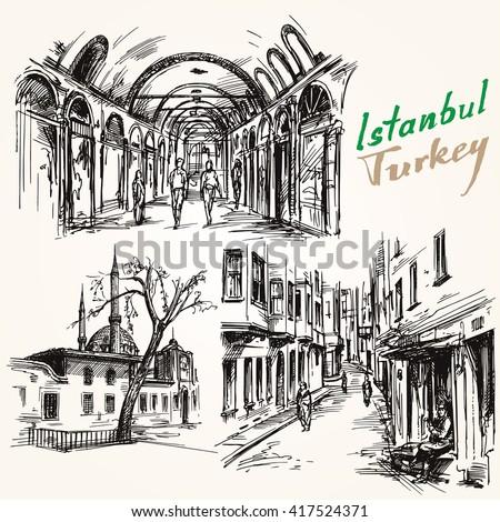 Turkey, Istanbul. Hand drawn collection. Grand Bazaar. - stock vector