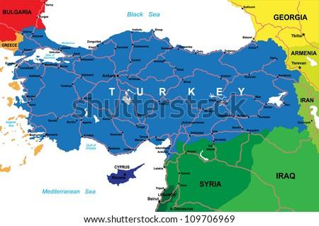Turkey map - stock vector