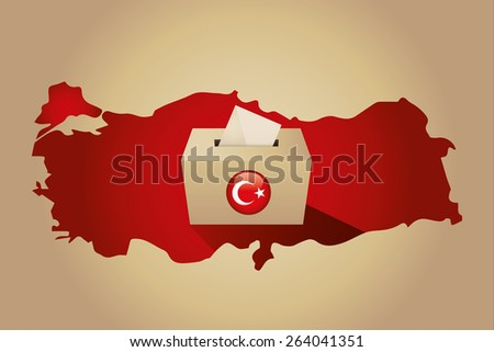 Turkey Map and Ballot Box with Turkish Flag Symbol. Gold Background - stock vector
