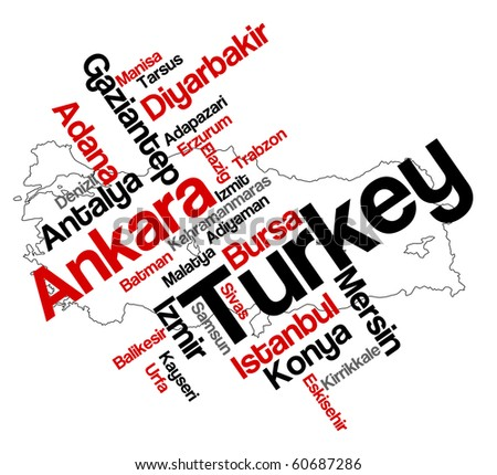 Turkey map and words cloud with larger cities - stock vector