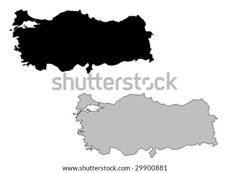Turkey map. Black and white. Mercator projection. - stock vector