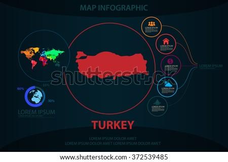 turkey map infographic - stock vector