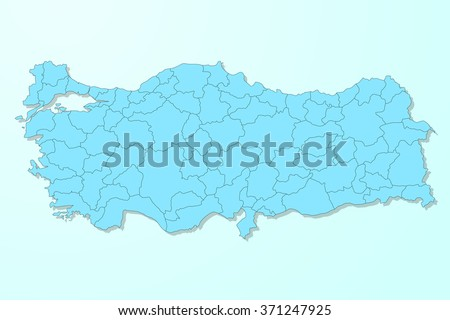 Turkey map on blue degraded background vector - stock vector