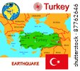 Turkey map with epicenter earthquake. - stock vector