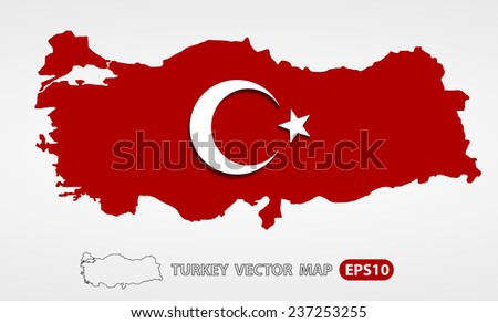 Turkey map with Turkish flag vector illustration - map, emblem, shadow are on separate layers, you can easily edit it - stock vector