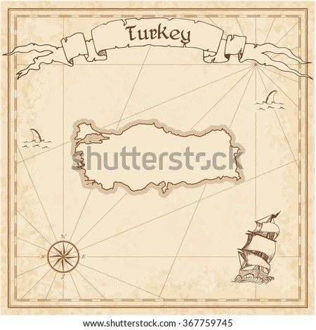 Turkey old treasure map. Sepia engraved template of Turkey treasure map. Stylized Turkey treasure map on vintage torn paper. - stock vector