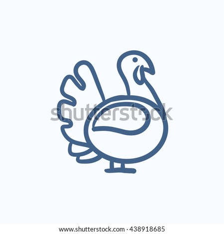 Turkey sketch icon for web, mobile and infographics. Hand drawn turkey icon. Turkey vector icon. Turkey icon isolated on white background. - stock vector