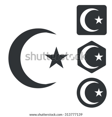 Turkey symbol icon set, monochrome, isolated on white