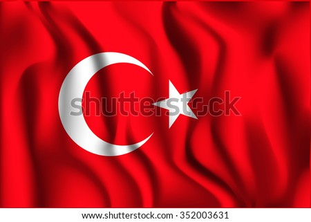 Turkey Variant Flag. Rectangular Shape Icon with Wavy Effect