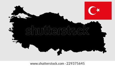 Turkey vector map and vector flag silhouette, high detailed illustration. Original and simple Turkey flag isolated vector in official colors and Proportion Correctly.  - stock vector