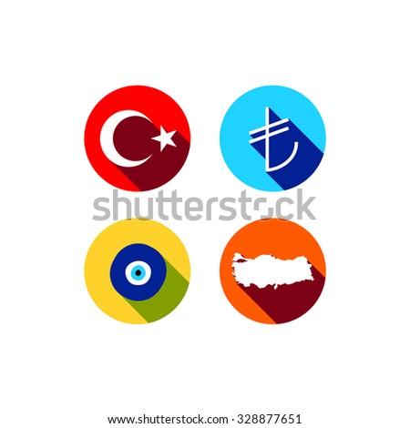 Turkey Vector Set Flag Map Turkish Stock Vector 328877651 - Shutterstock
