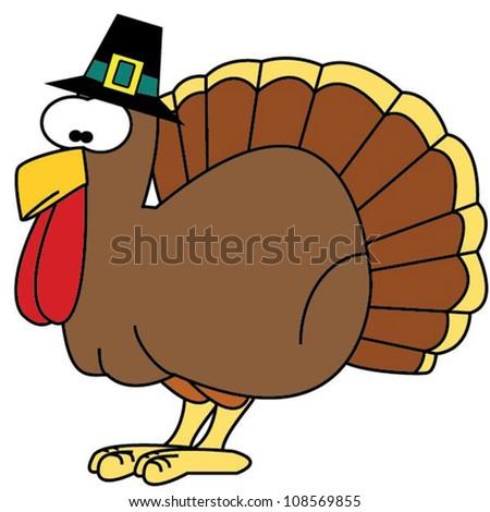 Turkey with pilgrim hat - stock vector