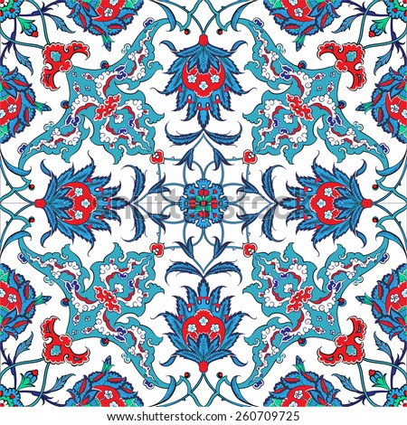 Turkish and Ottoman Empire's era traditional seamless ceramic tile, vector floral pattern - stock vector
