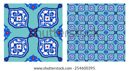 Turkish and Ottoman Empire's era traditional seamless ceramic tile, vector pattern - stock vector