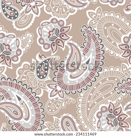 Turkish cucumber seamless ornate pattern, beige and brown style
