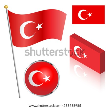 Turkish flag on a pole, badge and isometric designs vector illustration.  - stock vector