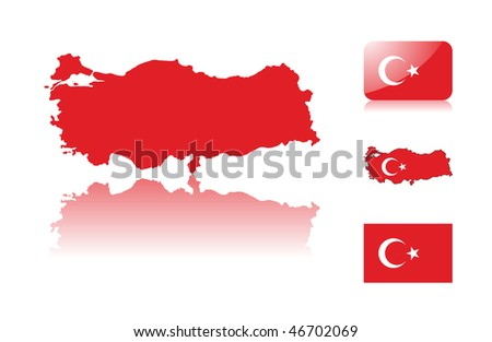 Turkish map including: map with reflection, map in flag colors, glossy and normal flag of Turkey. - stock vector