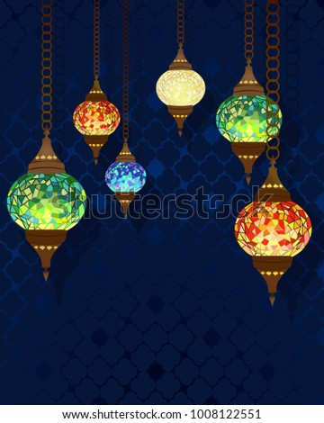 Turkish Mulricolored Handmade Mosaic Lamps Background