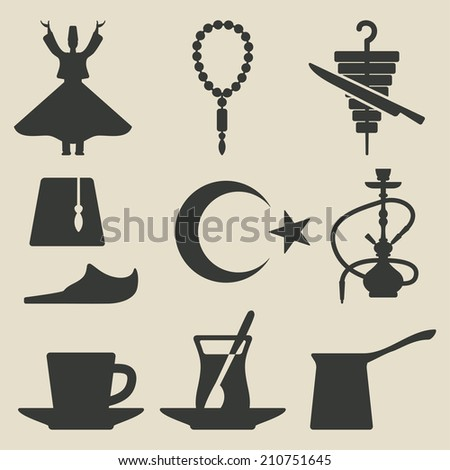 Turkish national icons set - vector illustration. eps 8 - stock vector