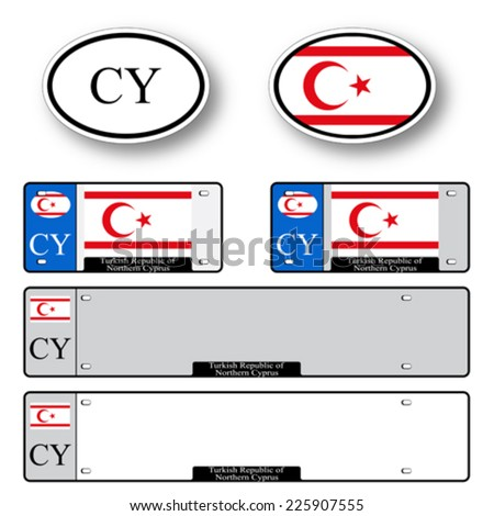 turkish republic of northern cyprus auto set against white background, abstract vector art illustration, image contains transparency - stock vector