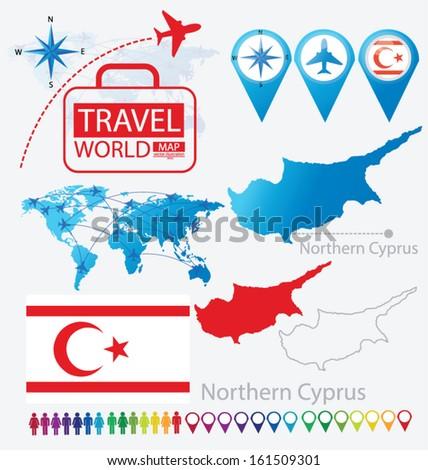 Turkish republic northern cyprus flag world stock vector royalty turkish republic of northern cyprus flag world map travel vector illustration gumiabroncs Images